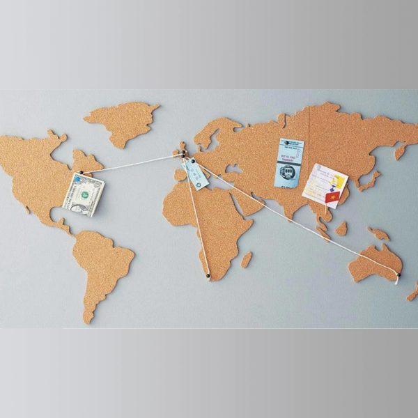 dünya haritası mantar pano